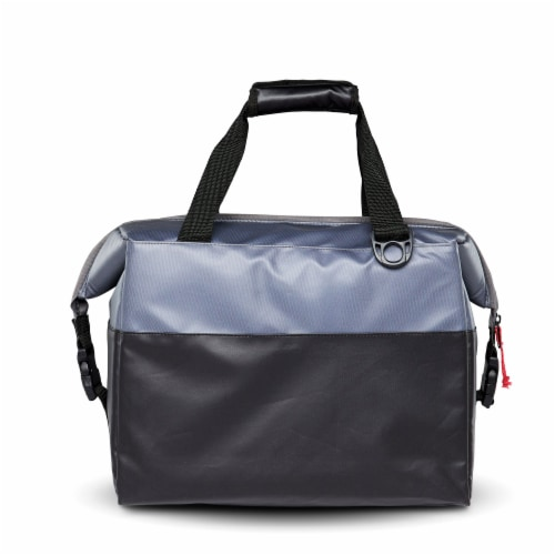 Igloo Durable & Adjustable Insulated Snapdown 36 Can Cooler Bag, Black and Gray Perspective: left