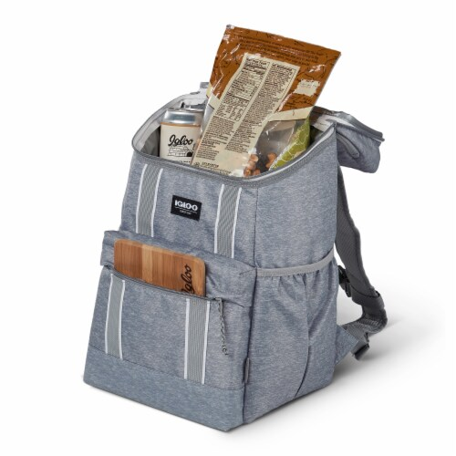 Igloo 30 Can Large Portable Insulated Soft Cooler Backpack Carry Bag, Light Gray Perspective: left