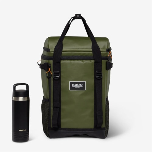 Igloo Pursuit 24 Can Portable Backpack Cooler w/ Adjustable Straps, Chive Green Perspective: left