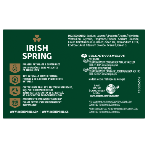 Irish Spring® Original Deodorant Bar Soap Perspective: left