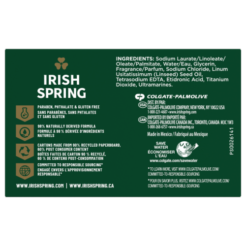 Irish Spring Icy Blast Deodorant Bar Soap Perspective: left