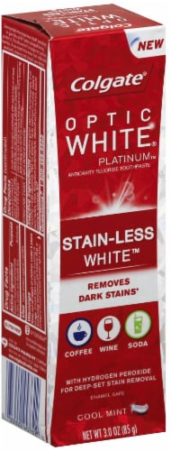 Colgate Optic White Platinum Stain-Less Cool Mint Toothpaste Perspective: left