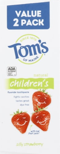Tom's of Maine Silly Strawberry Natural Children's Fluoride Toothpaste Perspective: left