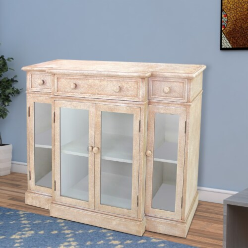 Vintage French Style Distressed Hallway Cabinet Perspective: left