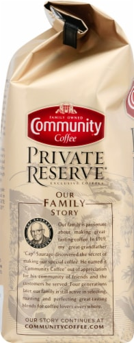 Community Coffee Private Reserve Evangeline Blend Dark Roast Whole Bean Coffee Perspective: left