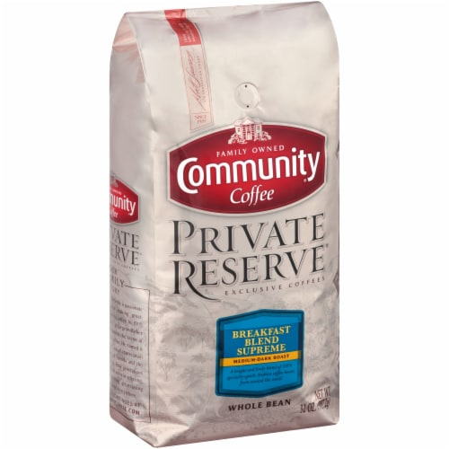Community Coffee Private Reserve Breakfast Blend Supreme Medium-Dark Roast Whole Bean Coffee Perspective: left