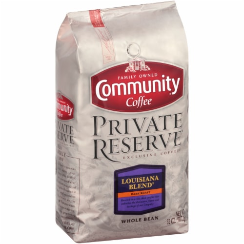 Community Coffee Private Reserve Louisiana Blend Dark Roast Whole Bean Coffee Perspective: left