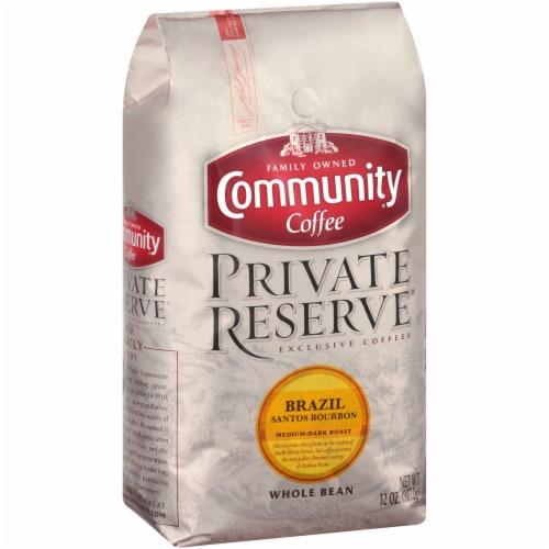 Community Coffee Private Reserve Brazil Santos Bourbon Medium-Dark Roast Whole Bean Coffee Perspective: left