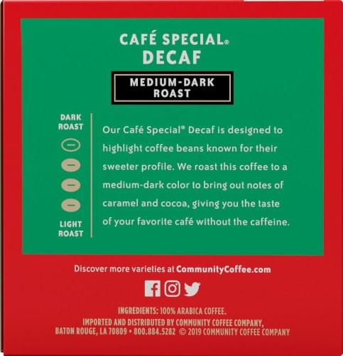 Community Coffee Cafe Special Decaf Medium-Dark Roast Coffee Single-Serve Cups Perspective: left