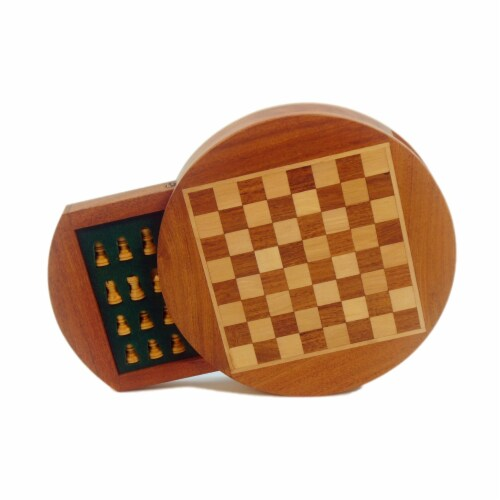 Wordlwise Magnetic Round Wood Inlaid Chess Set Perspective: left