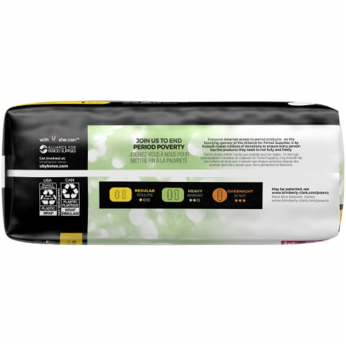 U by Kotex Security Ultra Thin Regular Unscented Pads Perspective: left