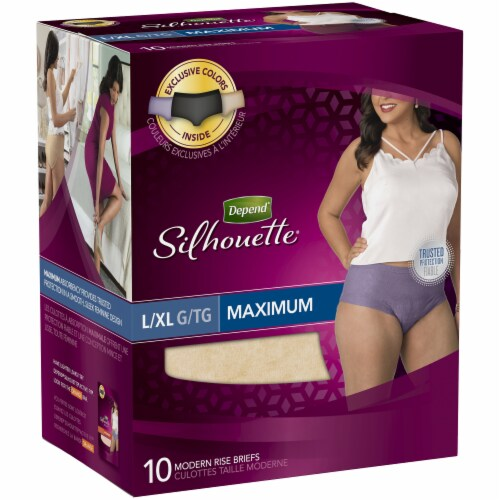 Depend Silhouette Max Absorbency L/XL Modern Rise Incontinence Briefs For Women Perspective: left