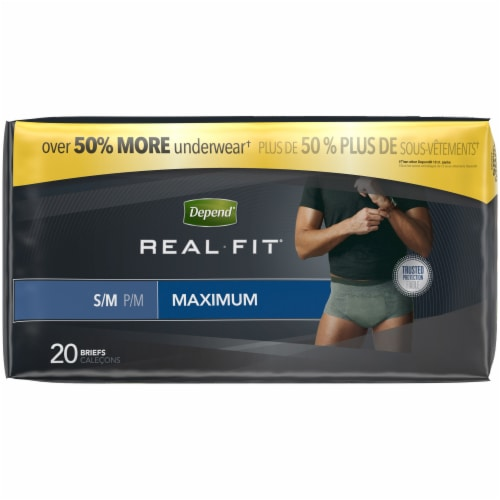 Depend Real Fit Maximum Absorbency Incontinence Underwear For Men S/M Perspective: left