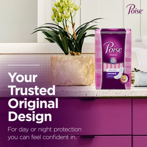 Poise Long Ultimate Absorbency Incontinence Pads Perspective: left