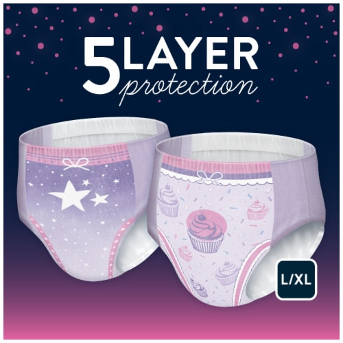 Goodnites Bedwetting Underwear for Girls L/XL Perspective: left