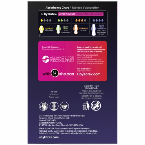 U by Kotex AllNighter Ultra Thin Overnight Pads with Wings Perspective: left