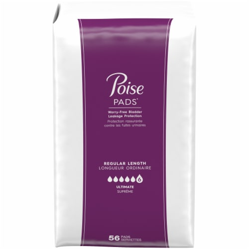 Poise Regular Length Ultimate Absorbency Pads 112 Count Perspective: left