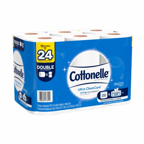 Cottonelle Ultra CleanCare Double Roll Toilet Paper Perspective: left