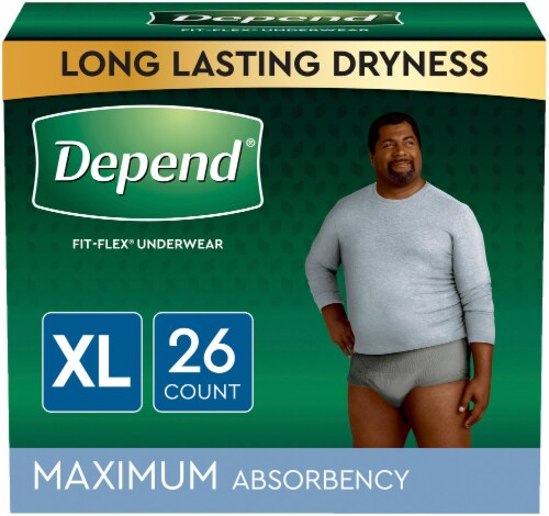Depend Fit-Flex Size Extra Large Maximum Absorbency Incontinence Underwear for Men Perspective: left