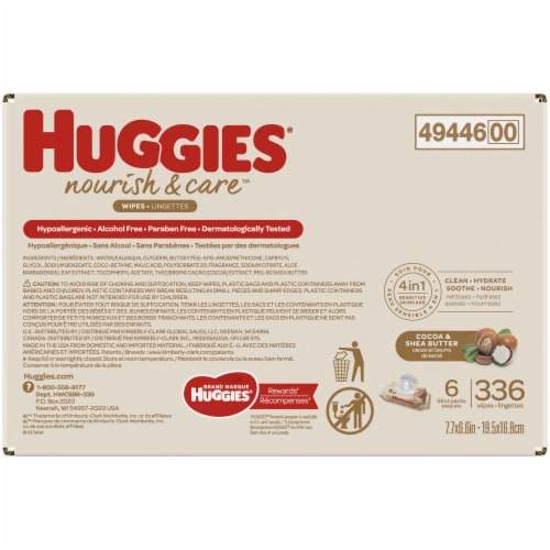 Huggies Nourish & Care Cocoa & Shea Butter 4-in-1 Sensitive Skin Baby Wipes Perspective: left