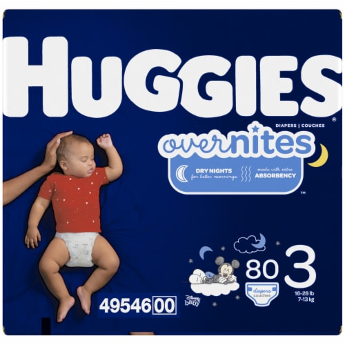 Huggies Overnites Size 3 Baby Diapers 80 Count Perspective: left