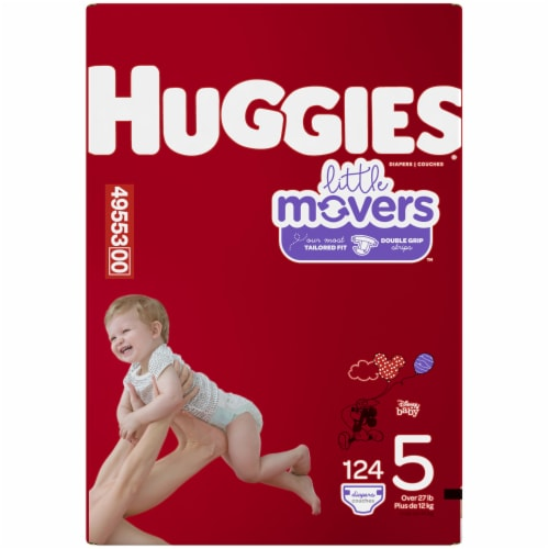 Huggies Little Movers Size 5 Diapers 124 Count Perspective: left