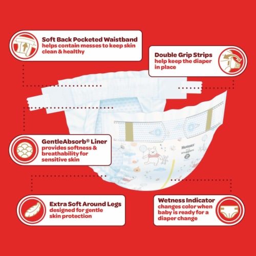 Huggies Little Snugglers Size 4 Baby Diapers 140 Count Perspective: left