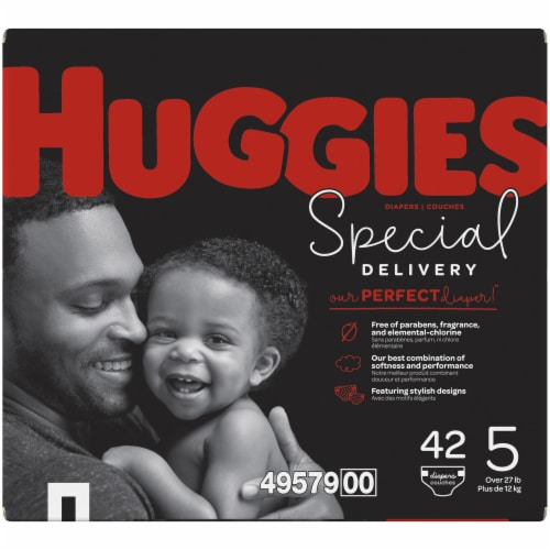 Huggies Special Delivery Size 5 Baby Diapers 42 Count Perspective: left