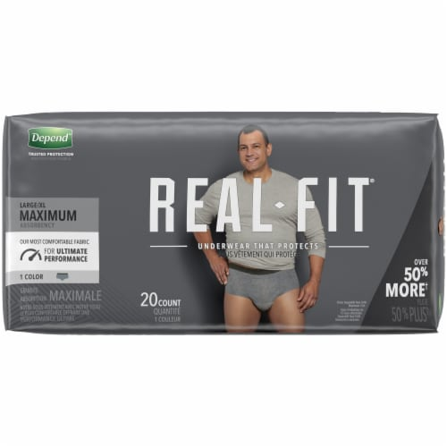 Depend Real Fit Maximum Absorbency Large/Extra Large Incontinence Underwear for Men Perspective: left