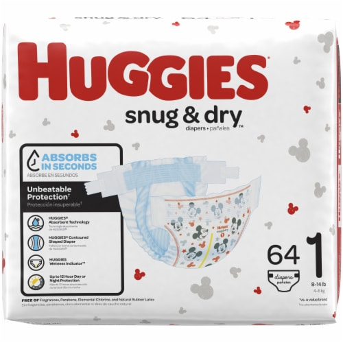 Huggies Snug and Dry Size 1 Baby Diapers 256 Count Perspective: left