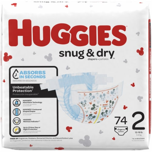 Huggies Snug and Dry Size 2 Baby Diapers 222 Count Perspective: left