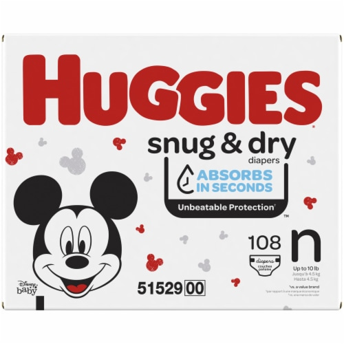 Huggies Snug and Dry Newborn Baby Diapers Perspective: left