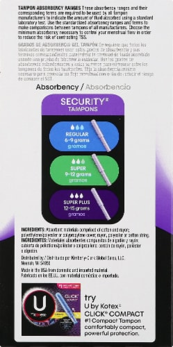 U By Kotex Security Super Plus Unscented Tampons Perspective: left