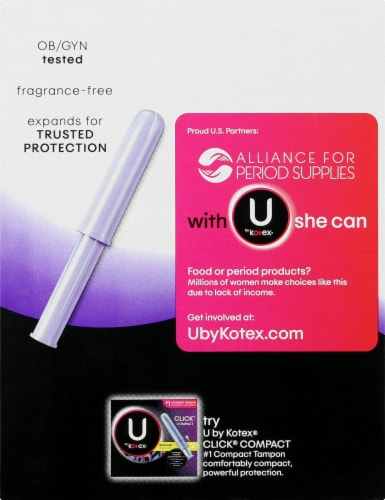 U By Kotex Security Regular Unscented Tampons Perspective: left