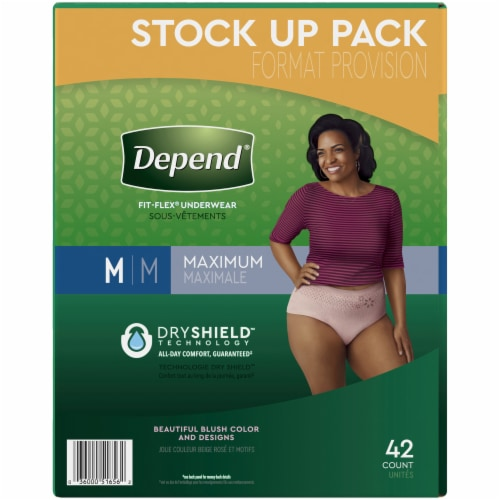 Depend Fit-Flex Maximum Absorbency Medium Incontinence Underwear For Women Perspective: left