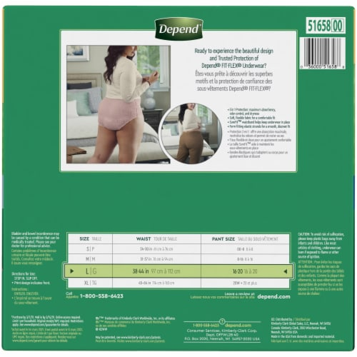 Depend Fit-Flex Maximum Absorbency Large Women's Incontinence Underwear Perspective: left