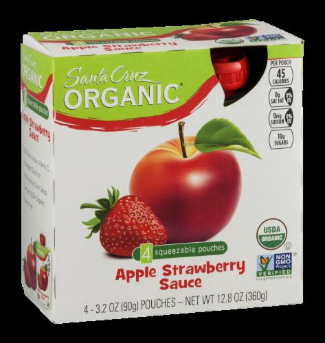 Santa Cruz Organic Strawberry Apple Sauce Pouches 4 Count Perspective: left