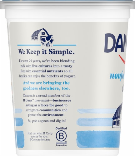 Dannon All Natural Plain Nonfat Yogurt Perspective: left