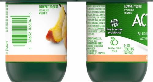Activia Peach Lowfat Probiotic Yogurt (4 Pack) Perspective: left