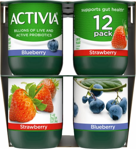 Activia Strawberry & Blueberry Lowfat Probiotic Yogurt Perspective: left