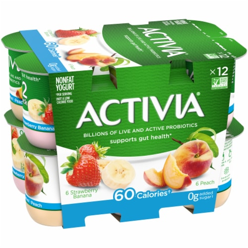 Activia Strawberry Banana & Peach Nonfat Probiotic Yogurt Perspective: left
