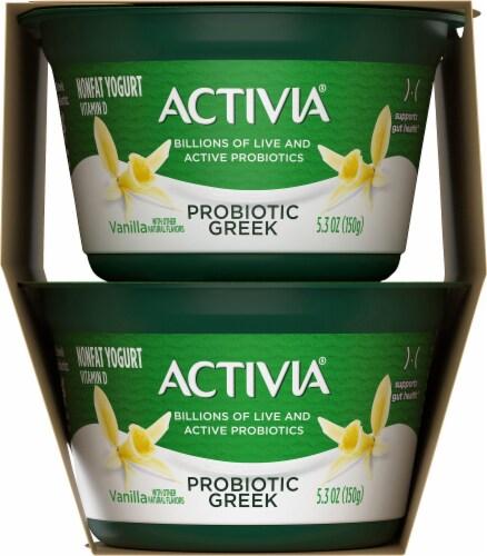 Activia Vanilla Probiotic Greek Nonfat Yogurt 4 Count Perspective: left