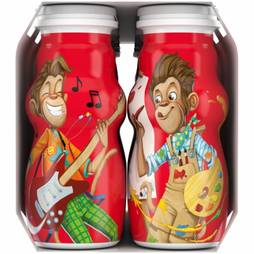 Danimals Smoothie Swingin' Strawberry Banana & Rockin' Raspberry Yogurt Smoothies Multipack Perspective: left