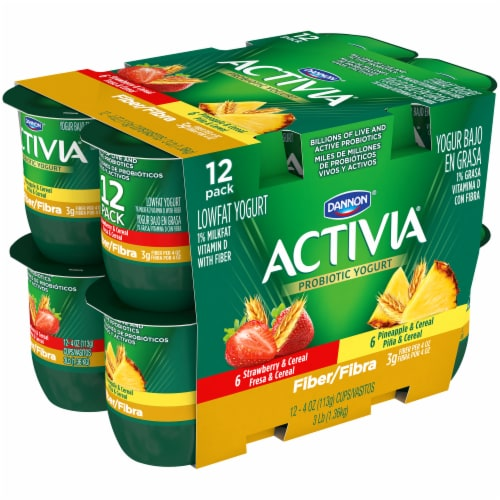 Dannon Activia Fiber Strawberry & Pineapple Yogurt 12 Count Perspective: left