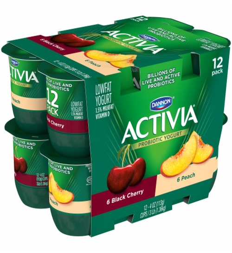 Dannon Activia Peach And Black Cherry Yogurt 12 Count Perspective: left