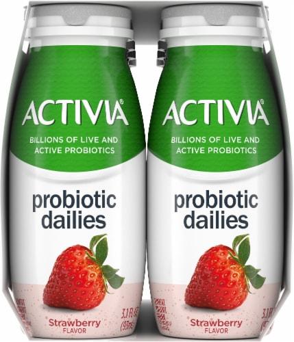 Activia Strawberry Probiotic Dailies Yogurt Drink Perspective: left