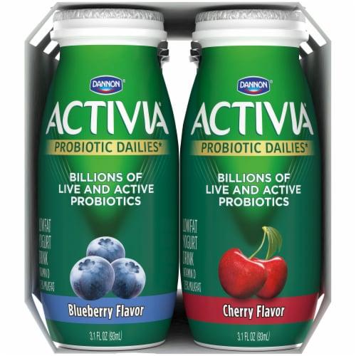 Activia Probiotic Dailies Cherry & Blueberry Lowfat Yogurt Drinks Perspective: left