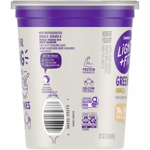Dannon Light & Fit Original Vanilla Nonfat Greek Yogurt Perspective: left