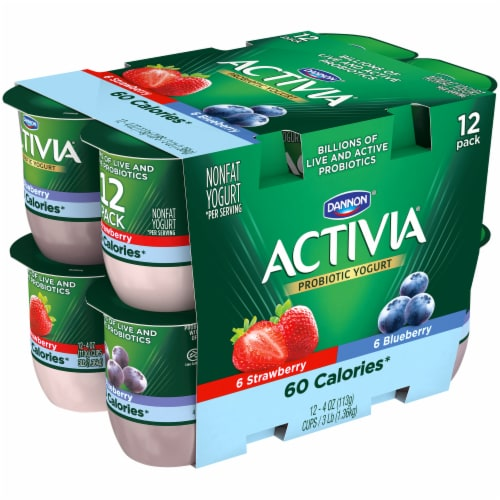 Dannon Activia Light Blueberry & Strawberry Yogurt 12 Count Perspective: left