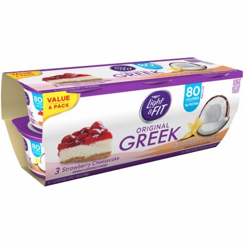 Dannon Light & Fit Strawberry Cheesecake & Toasted Coconut Vanilla Nonfat Greek Yogurt Multipack Perspective: left